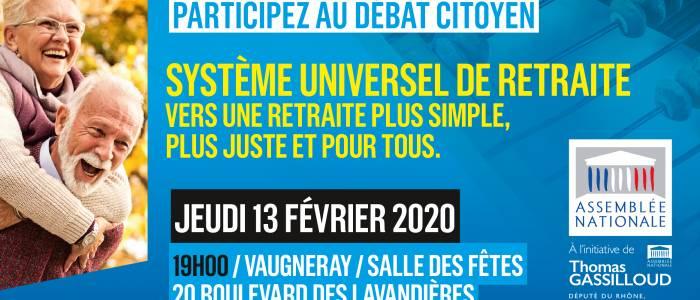 Grand débat public sur  la réforme des retraites jeudi 13 février à Vaugneray